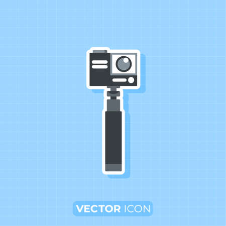 Action camera on the stabilizer icon,Flat design element.