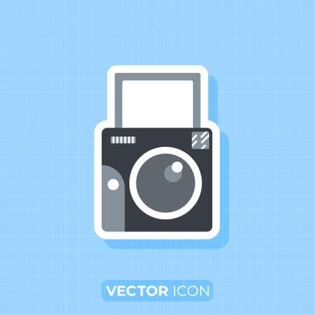 Instant Camera icon,Flat design element.