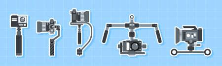 Handheld Steadicam Camera Stabilizer Icon set,Flat design element.