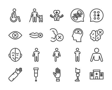 Disabled people line icon set Vecteurs
