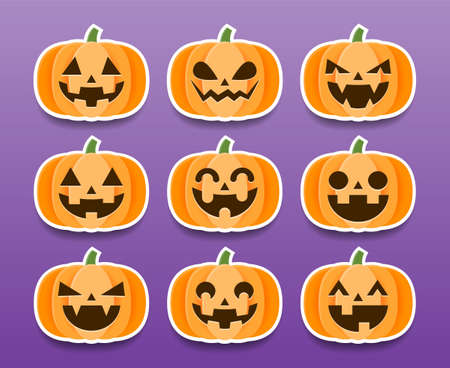 Set of Cartoon Halloween Pumpkins Stickers, Vector and Illustration