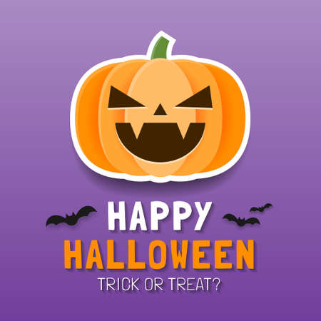 Happy Halloween Poster template or Banner template, Background for Happy Halloween trick or treat party invitation, Spooky pumpkin, Vector illustration.