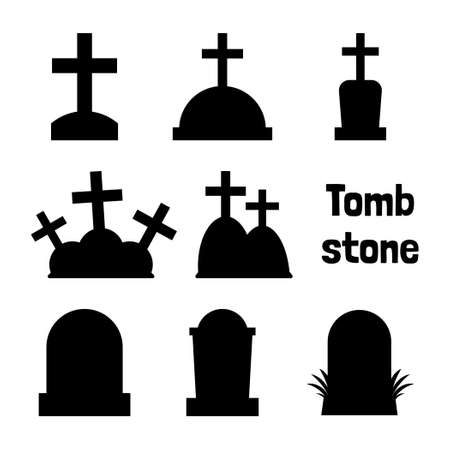 Tombstone silhouette collection for Halloween in Vector Flat Design, Vector and Illustration.