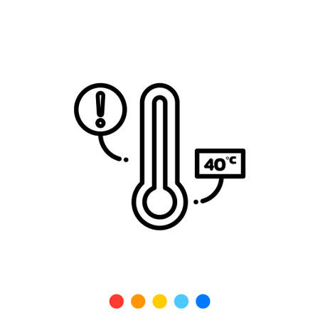 Thermometer Vector Thin line icon. 向量圖像