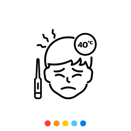 A man icon with a high fever and measuring the fever forty degrees, Vector. 向量圖像