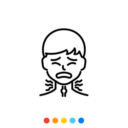 A man icon with a sore throat pain, Vector. 向量圖像