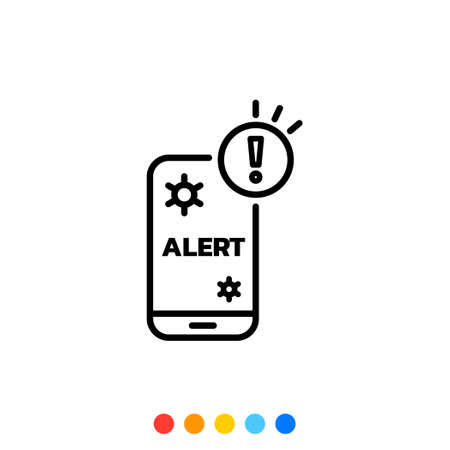 Smartphone Is Infected With Virus or Malware icon, Icon of Virus outbreak alert or Information about Pandemic on the Smartphone. 向量圖像
