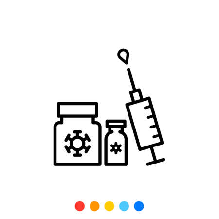 Syringe and medicine Thin line icon, Vector.