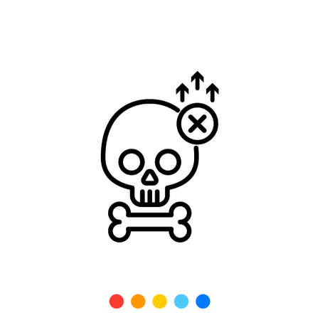 Skull and bone icon, The increasing death, Vector.