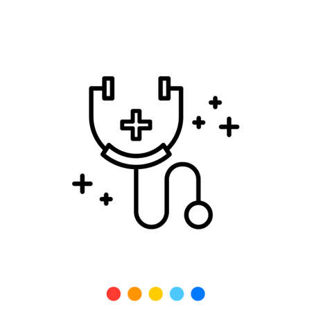 Simple medical stethoscope linear icon, Vector.