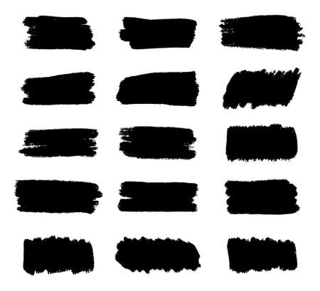 Set of Black Brush strokes, Dirty artistic grunge design elements, Text box or Frame for Text, Vector and Illustration. Vettoriali