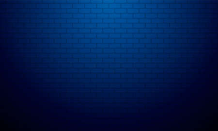 Blue gradient brick wall background with Soft light, Product showcase backdrop.