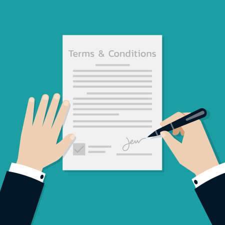 Businessman Hands signing on the terms and conditions form document, Business concept, Vector Illustration in flat style. Stock Illustratie