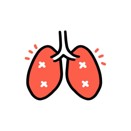 Cartoon Doodle of Damaged or infected lung, Vector and illustration.