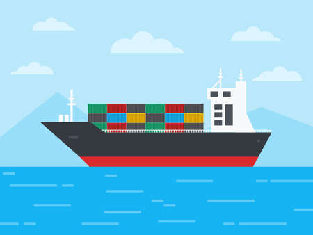 Container cargo ship in the ocean and Sail through the icebergs, Logistics and Transportation concept, Vector, Illustration.