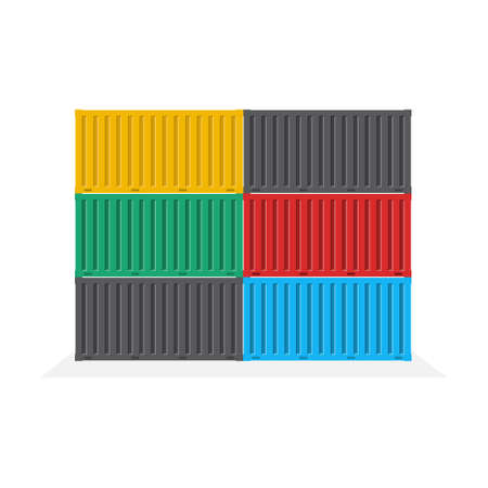 Side view of the container pile, Logistics and Transportation concept, Vector, Illustration.