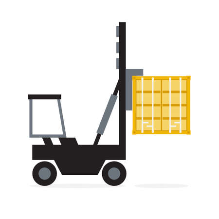 Forklift crane container, Logistics and Transportation concept, Vector, Illustration.