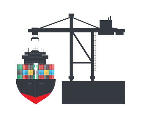 Container cargo ship with Container crane, Logistics and Transportation concept, Vector, Illustration.