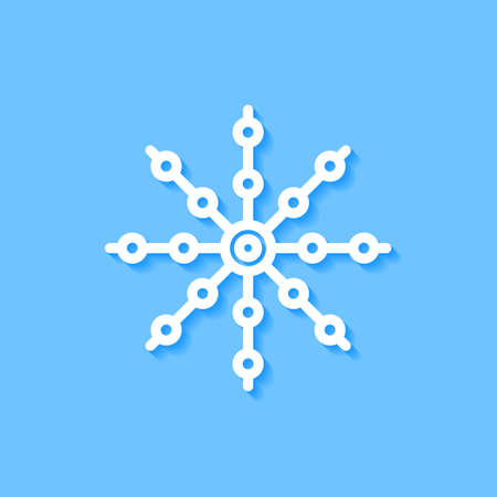 White snowflake icon on blue background, Vector.