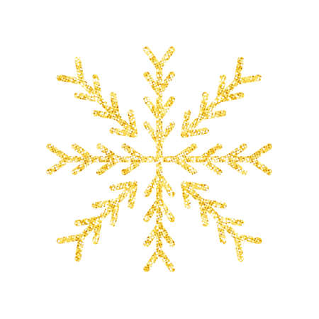 Gold glitter texture snowflake on white background for Christmas tree decoration, Vector, Illustration.