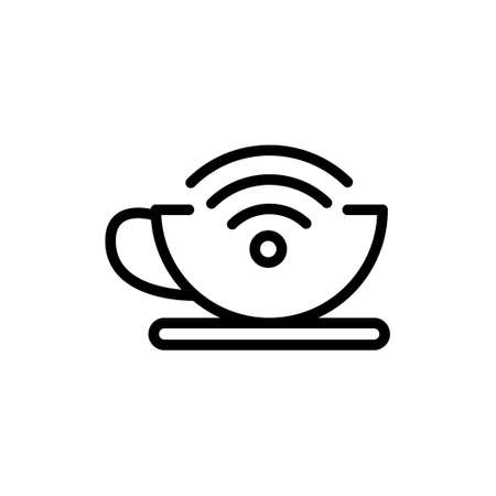 Coffee cup thin line icon with internet symbol