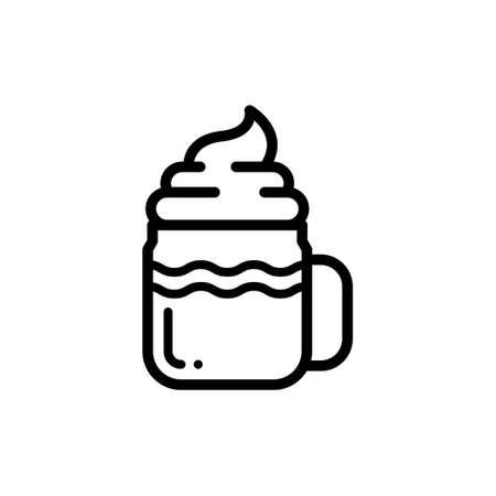 Iced coffee with whipped cream thin line icon Illustration