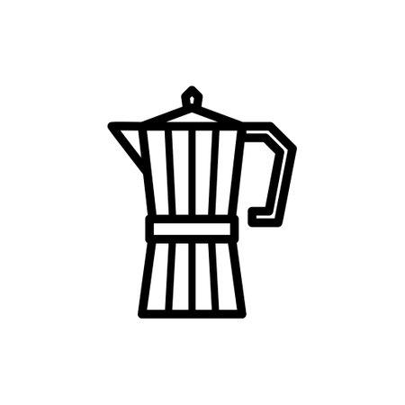 Stovetop Espresso coffee maker vector thin line icon, Moka pot