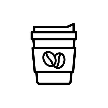 Coffee paper cup thin line icon