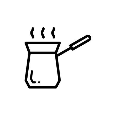 Turkish coffee pot, thin line icon