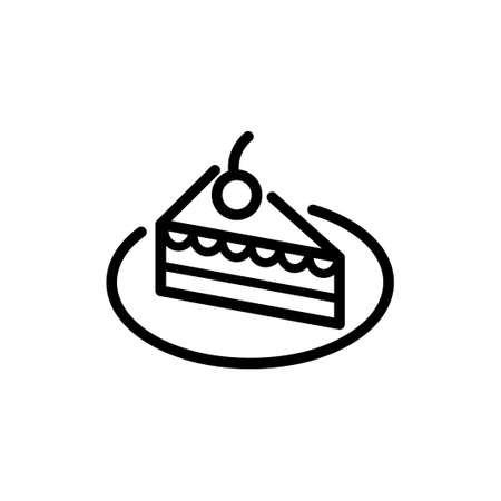 Vector thin line Icon of Cake on the plate