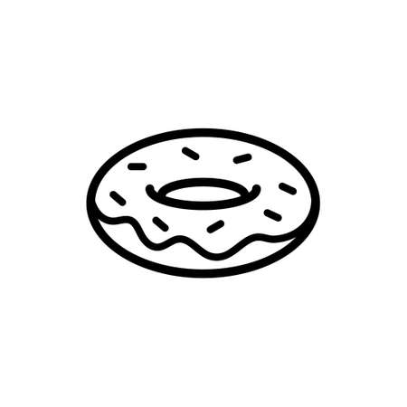 Doughnut vector line style icon Illustration