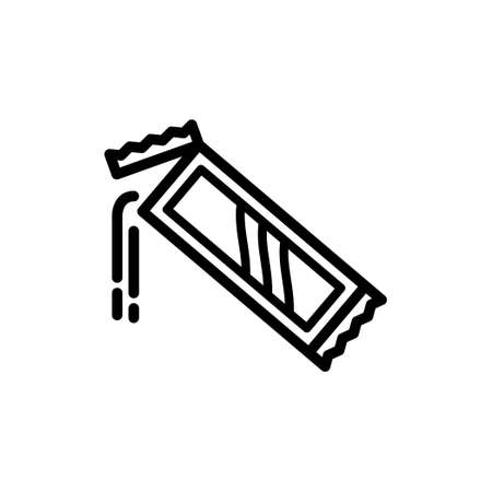 Vector thin line icon of Pouring coffee from coffee sachets