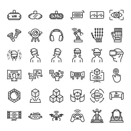 Virtual reality related icon set, Virtualization Technology icon.