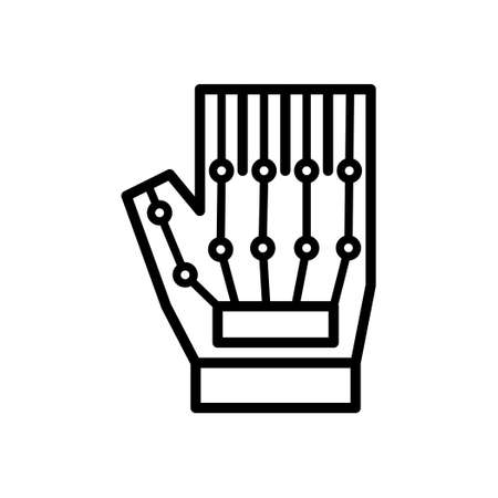 VR Haptic Gloves, Outline icon, Vector and Illustration.