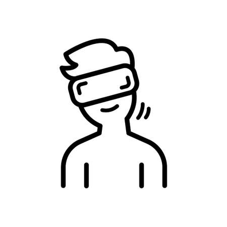 A Man wearing Virtual Reality Glasses and Looking tilted to the right, Outline icon, Vector and Illustration.