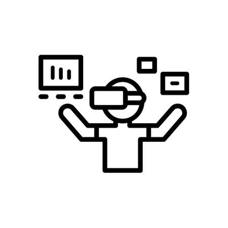 A man using Virtual Reality Glasses, Outline icon, Vector and Illustration.