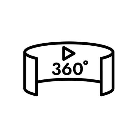 Panorama 360 degree multimedia player outline icon, Vector and Illustration. Illustration