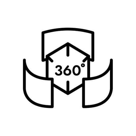 360 degree and rotation outline icon, 3D visualization technology icon, Vector and Illustration.