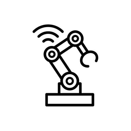 Mechanical arm robot outline line icon.