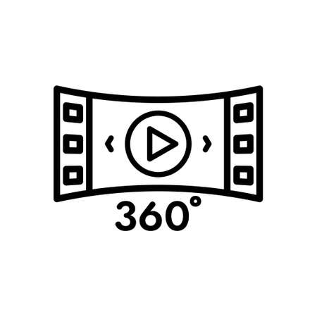 Panorama 360 degree multimedia player outline icon, Vector and Illustration Illustration