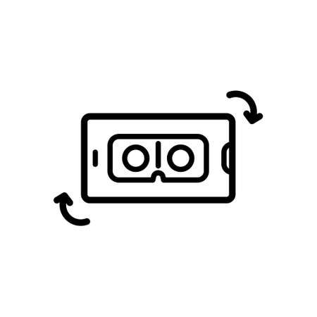 VR Application on smartphone, Outline icon, Vector and Illustration.