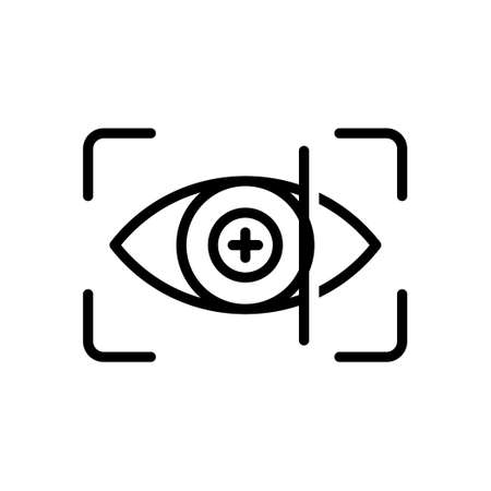 Eyes scanning outline icon, Vector and Illustration.