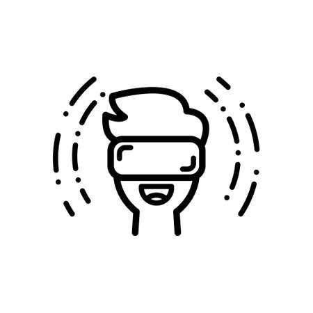 A Man wearing Virtual Reality Glasses, Outline icon, Vector and Illustration. Illustration