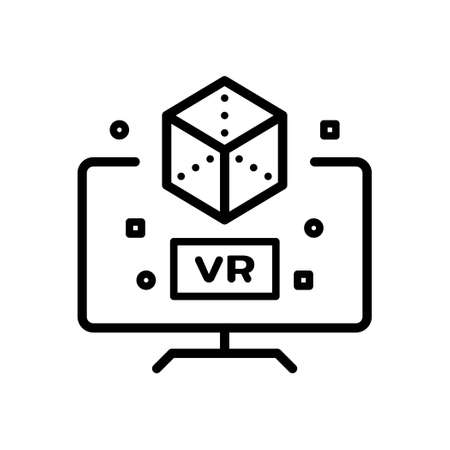 Virtual reality outline icon, Vector and Illustration. Illustration