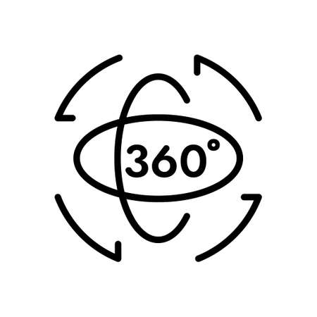 360 degree and rotation outline icon, Vector and Illustration. Illustration