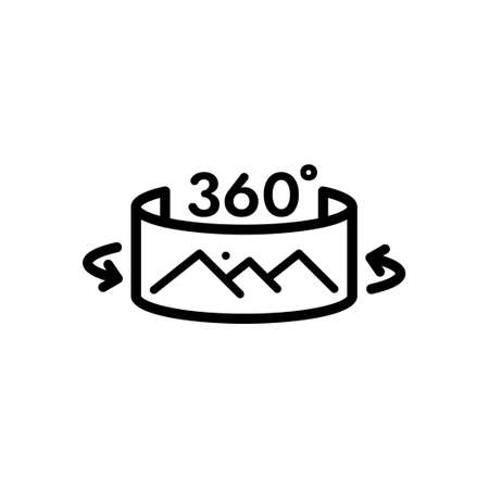 Panorama 360 degree outline icon, Vector and Illustration.