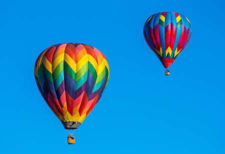 Colorful hot air balloons over blue sky  Albuquerque balloon festival  photo