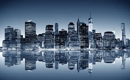 Panoramic night view of New York photo