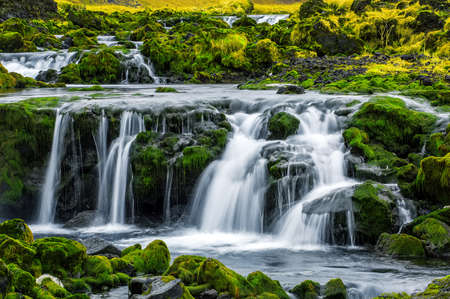 small waterfall on south coast of Iceland