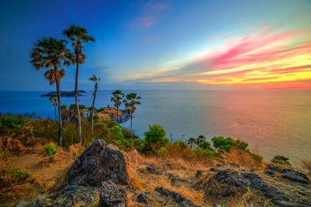 thep: Sunset on Prom Thep Cape, best viepoint of Phuket Stock Photo